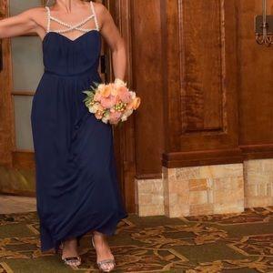 Navy Beaded Crisscross Bridesmaid Dress